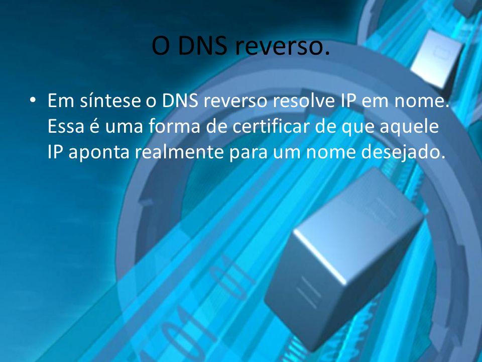 O DNS reverso. Em síntese o DNS reverso resolve IP em nome.