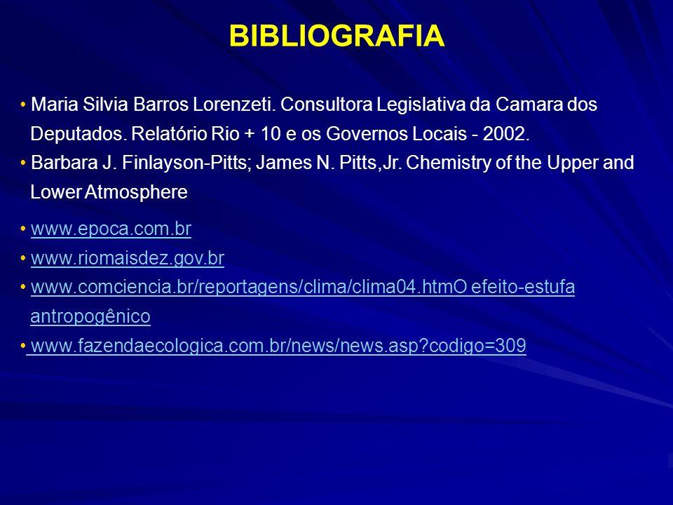 BIBLIOGRAFIA Maria Silvia Barros Lorenzeti. Consultora Legislativa da Camara dos. Deputados. Relatório Rio + 10 e os Governos Locais - 2002.