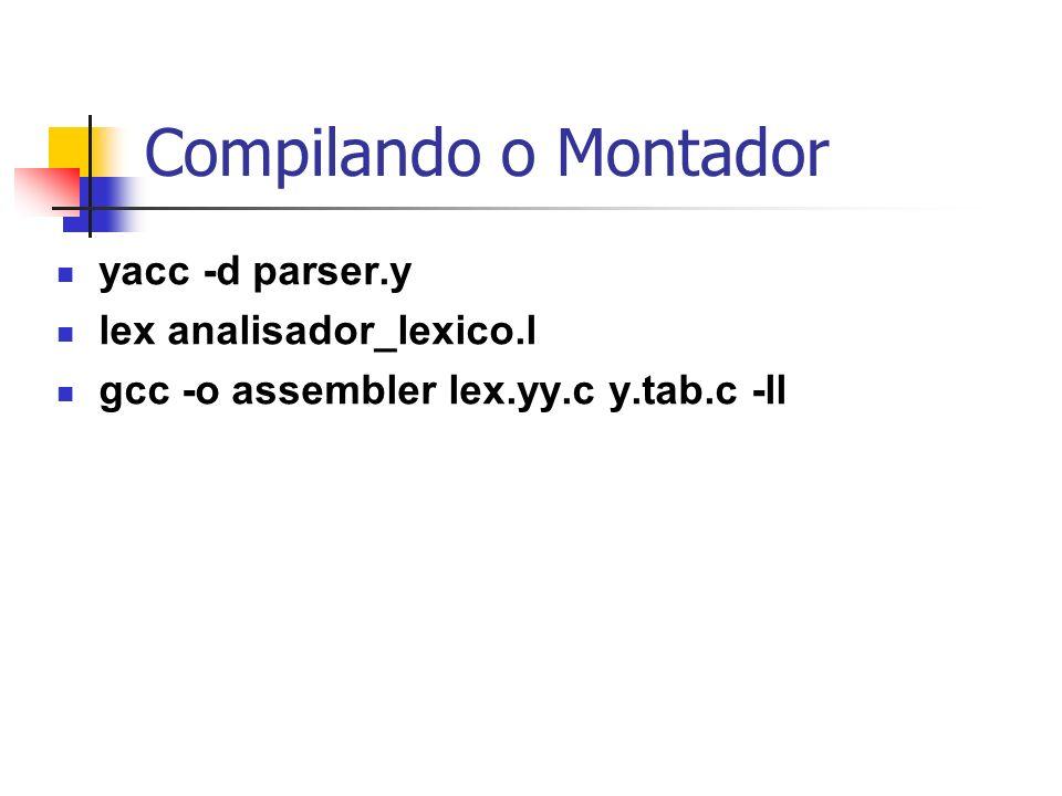 Compilando o Montador yacc -d parser.y lex analisador_lexico.l