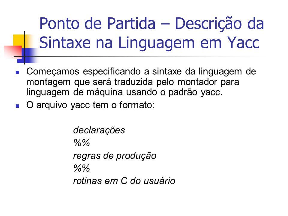 Ponto de Partida – Descrição da Sintaxe na Linguagem em Yacc