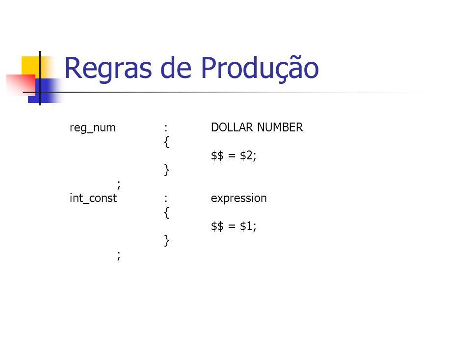 Regras de Produção reg_num : DOLLAR NUMBER { $$ = $2; } ;