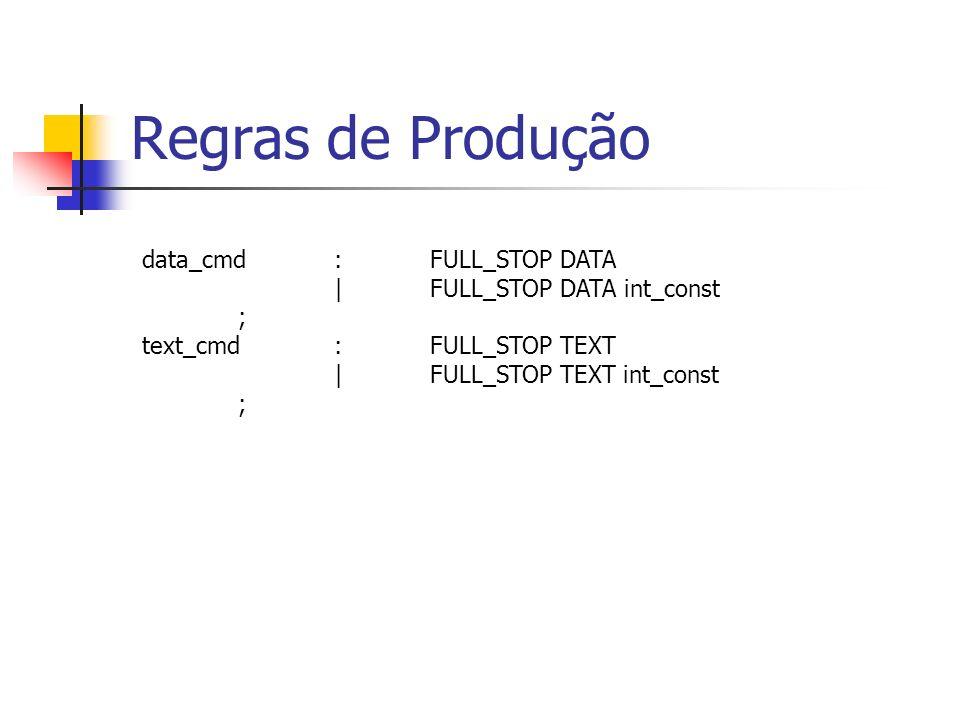 Regras de Produção data_cmd : FULL_STOP DATA