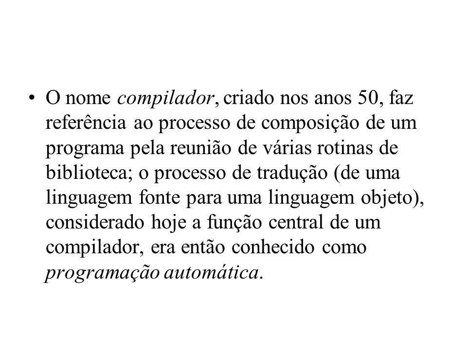 O nome compilador, criado nos anos 50, faz referência ao processo de composição de um programa pela reunião de várias rotinas de biblioteca; o processo de tradução (de uma linguagem fonte para uma linguagem objeto), considerado hoje a função central de um compilador, era então conhecido como programação automática.