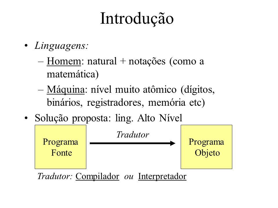 Introdução Linguagens: Homem: natural + notações (como a matemática)