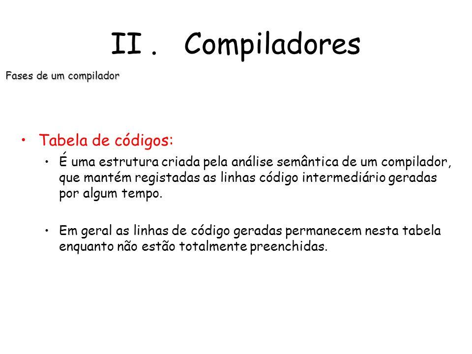 II . Compiladores Tabela de códigos:
