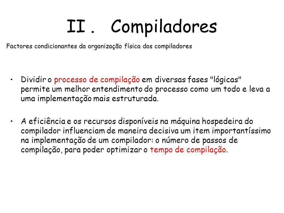 Factores condicionantes da organização física dos compiladores