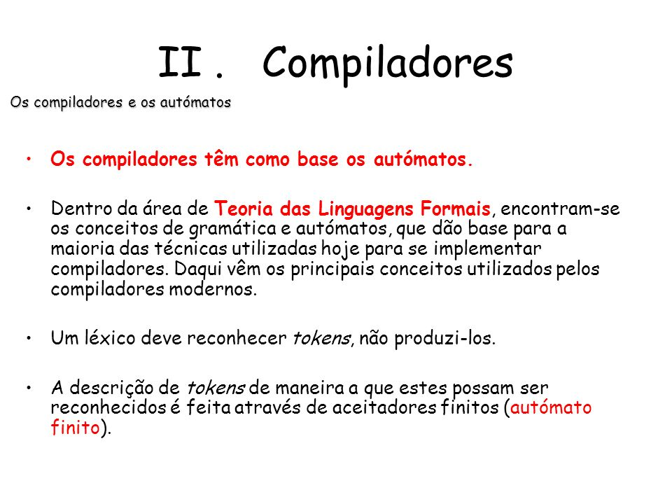 Os compiladores e os autómatos