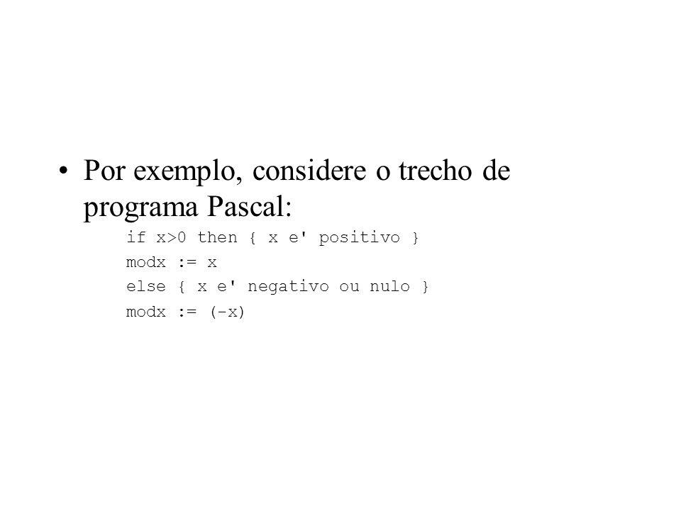 Por exemplo, considere o trecho de programa Pascal: