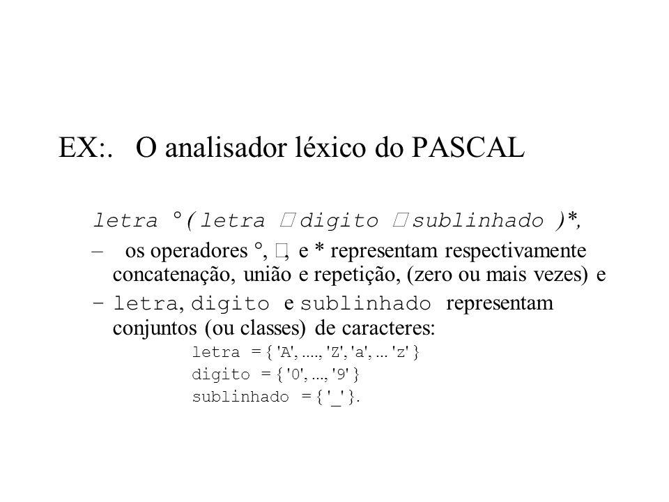 EX:. O analisador léxico do PASCAL
