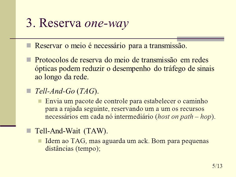 3. Reserva one-way Reservar o meio é necessário para a transmissão.