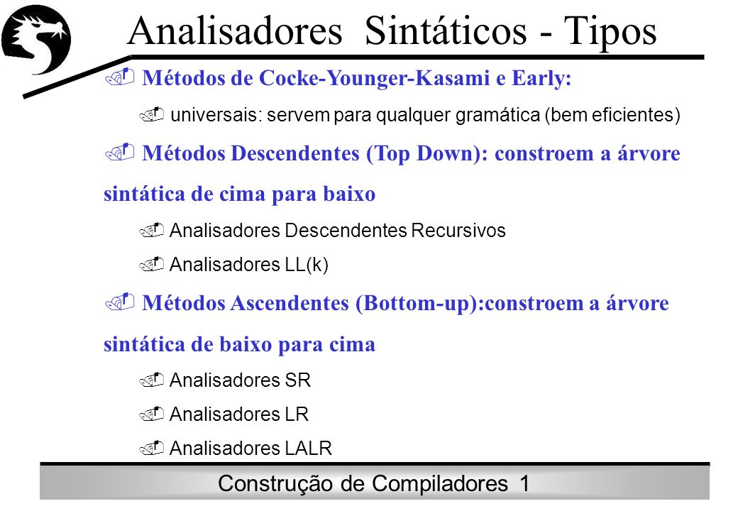 Analisadores Sintáticos - Tipos
