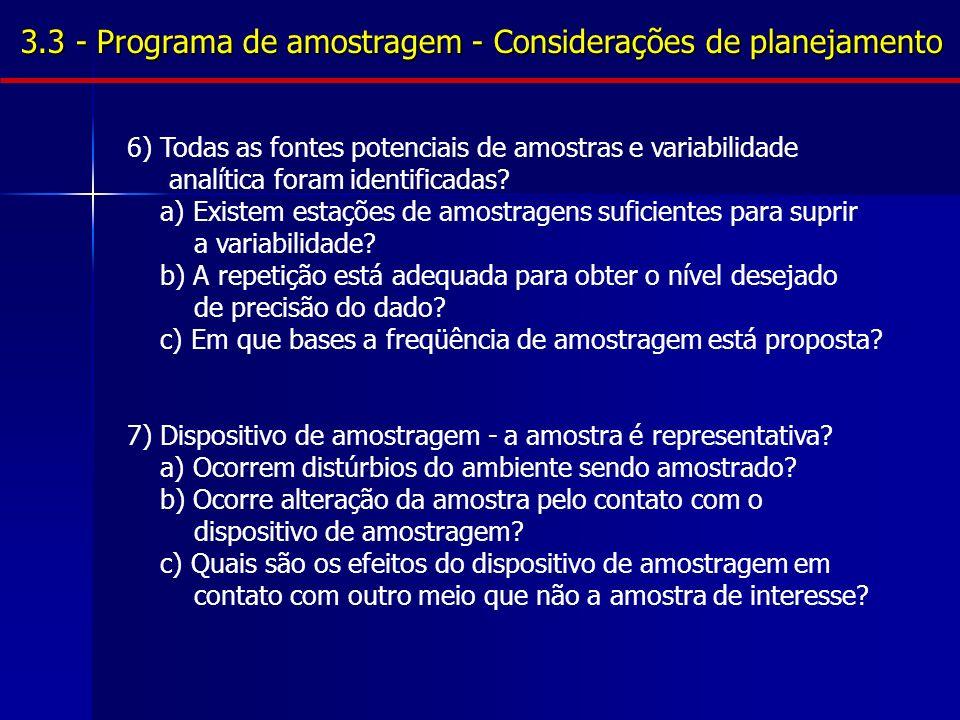 3.3 - Programa de amostragem - Considerações de planejamento