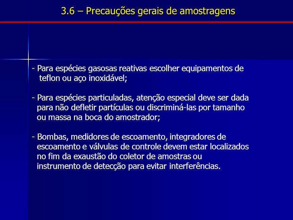 3.6 – Precauções gerais de amostragens