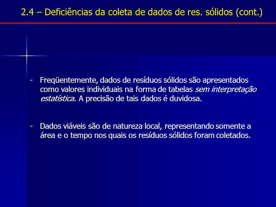 2.4 – Deficiências da coleta de dados de res. sólidos (cont.)