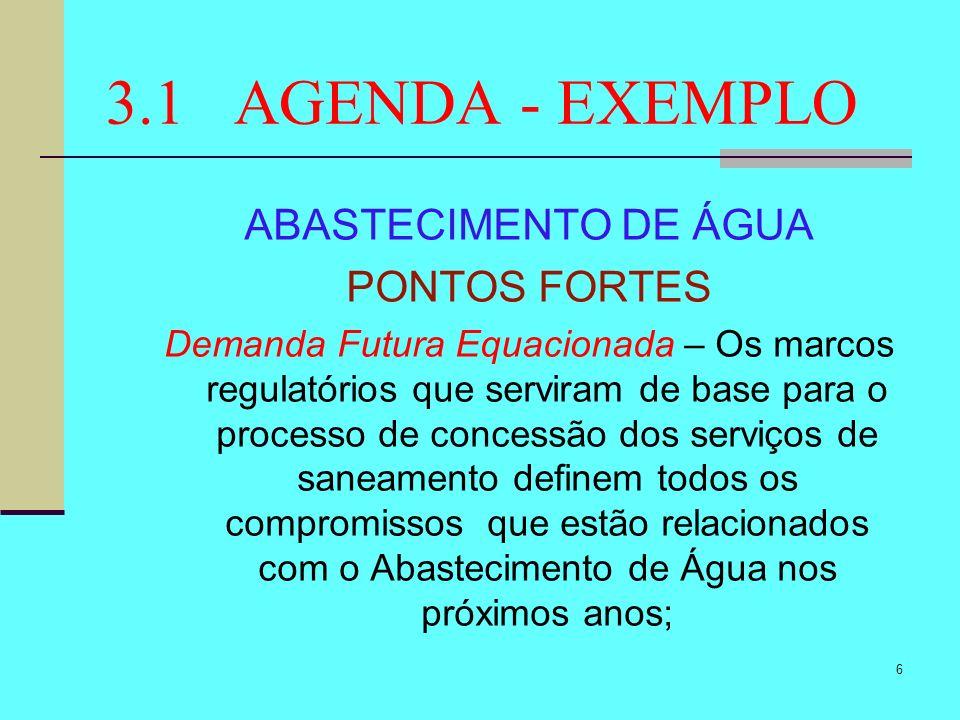 3.1 AGENDA - EXEMPLO ABASTECIMENTO DE ÁGUA PONTOS FORTES