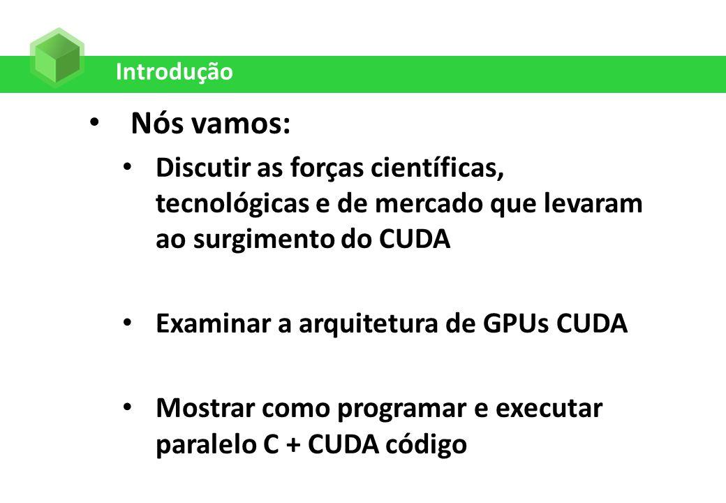 Introdução Nós vamos: Discutir as forças científicas, tecnológicas e de mercado que levaram ao surgimento do CUDA.