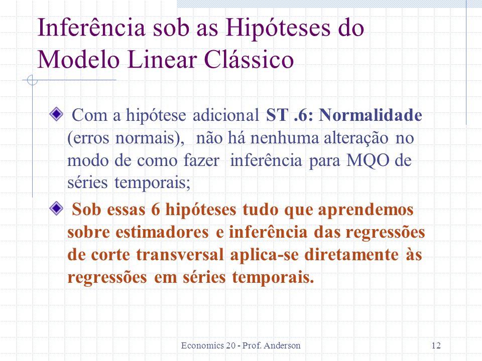 Inferência sob as Hipóteses do Modelo Linear Clássico