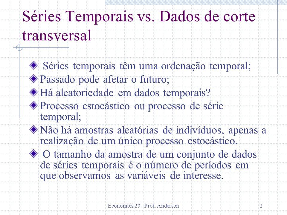 Séries Temporais vs. Dados de corte transversal