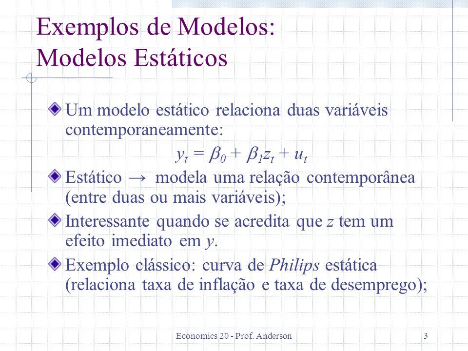 Exemplos de Modelos: Modelos Estáticos