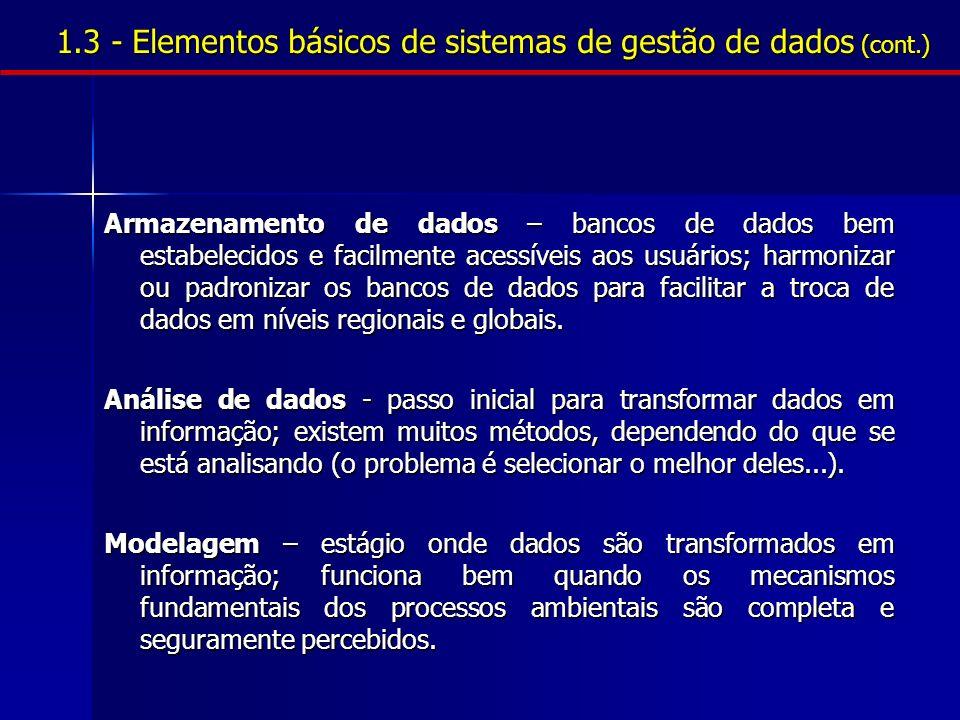 1.3 - Elementos básicos de sistemas de gestão de dados (cont.)