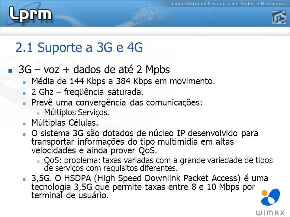 2.1 Suporte a 3G e 4G 3G – voz + dados de até 2 Mpbs