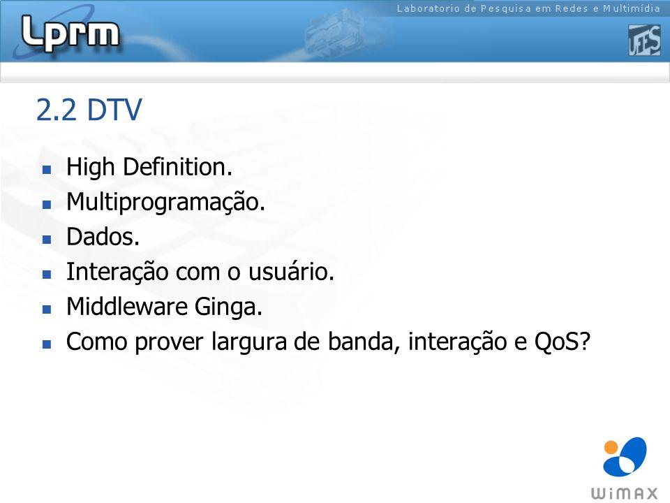 2.2 DTV High Definition. Multiprogramação. Dados.
