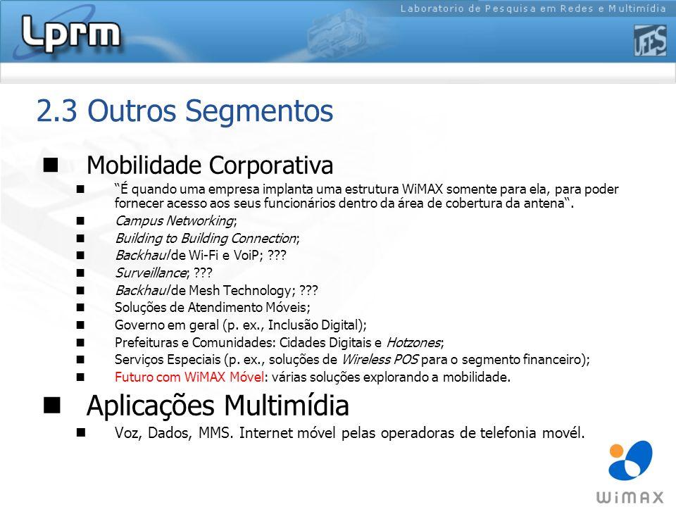 2.3 Outros Segmentos Aplicações Multimídia Mobilidade Corporativa