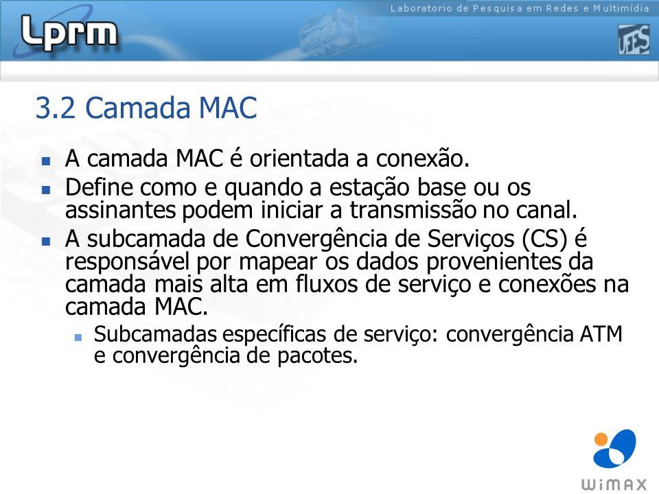 3.2 Camada MAC A camada MAC é orientada a conexão.