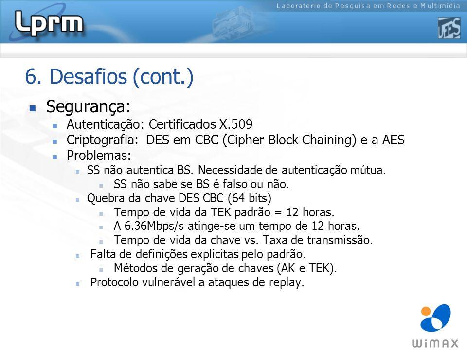 6. Desafios (cont.) Segurança: Autenticação: Certificados X.509