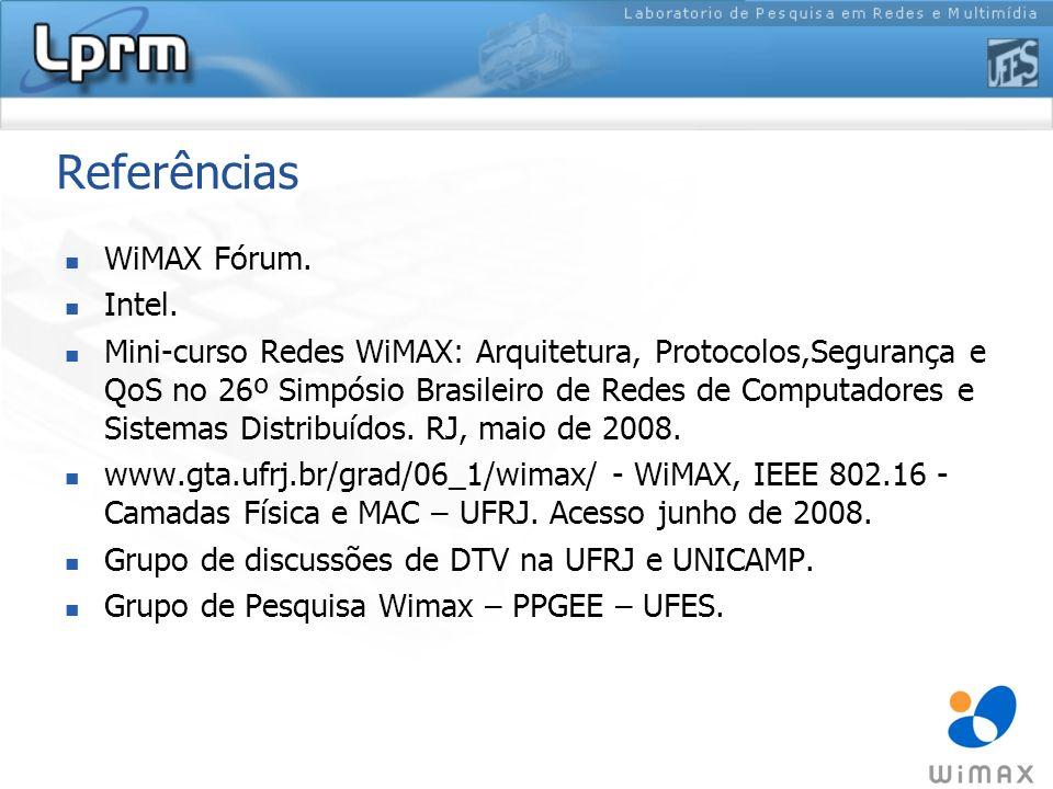 Referências WiMAX Fórum. Intel.