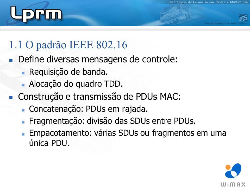 1.1 O padrão IEEE 802.16 Define diversas mensagens de controle: