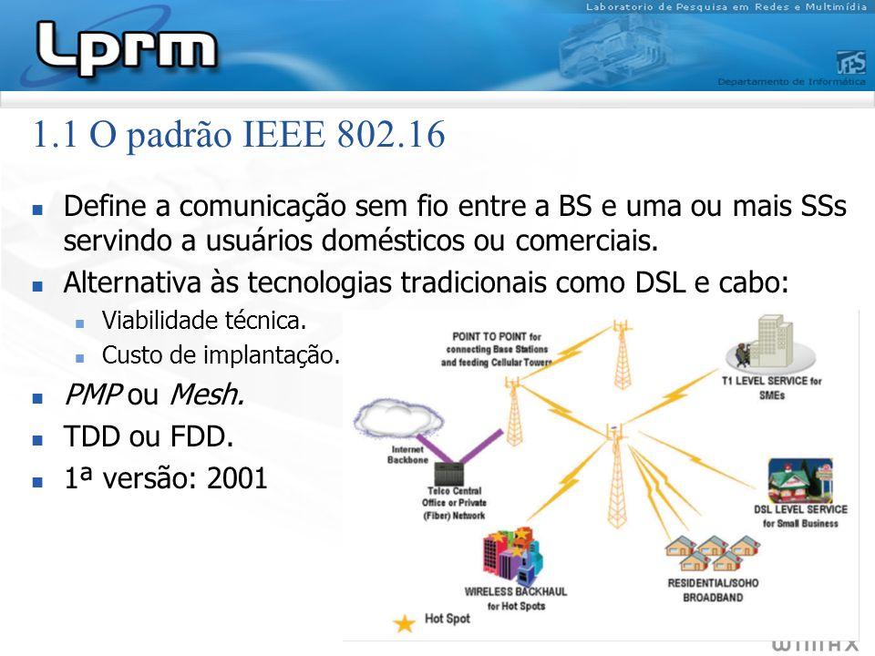 1.1 O padrão IEEE 802.16Define a comunicação sem fio entre a BS e uma ou mais SSs servindo a usuários domésticos ou comerciais.