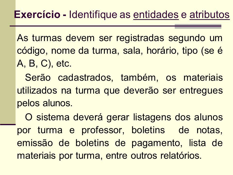Exercício - Identifique as entidades e atributos