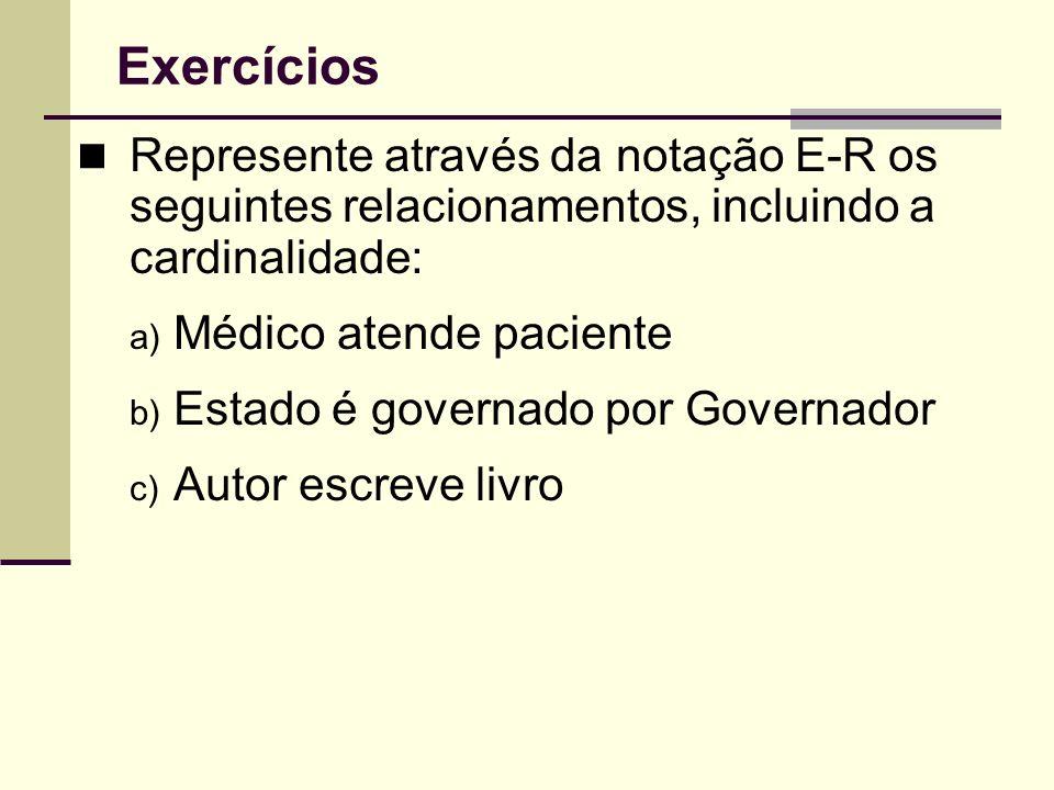 Exercícios Represente através da notação E-R os seguintes relacionamentos, incluindo a cardinalidade: