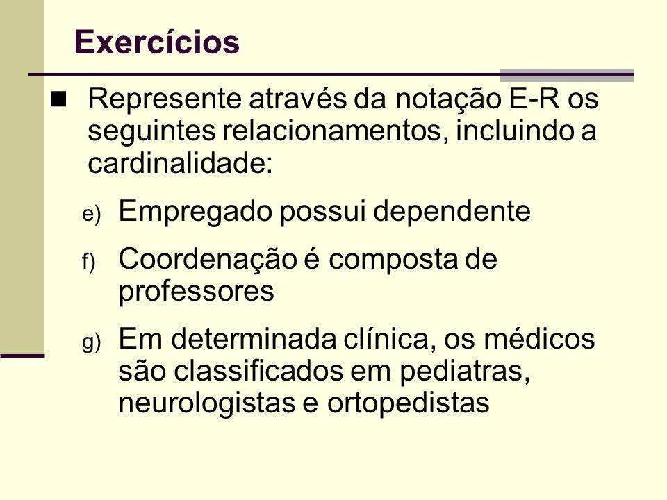 ExercíciosRepresente através da notação E-R os seguintes relacionamentos, incluindo a cardinalidade: