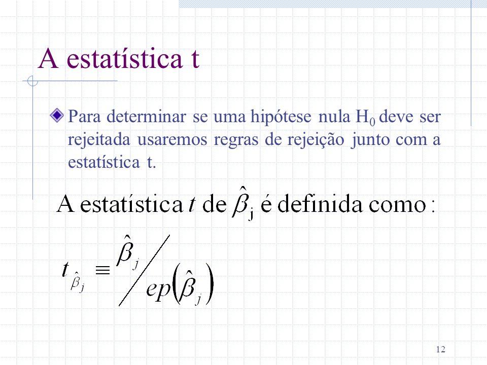 A estatística t Para determinar se uma hipótese nula H0 deve ser rejeitada usaremos regras de rejeição junto com a estatística t.