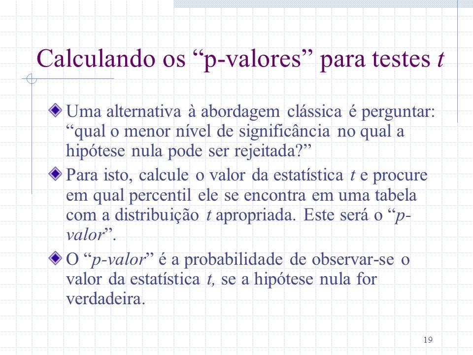 Calculando os p-valores para testes t