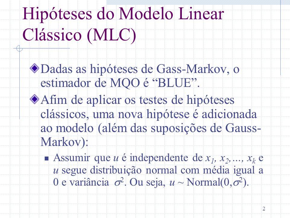 Hipóteses do Modelo Linear Clássico (MLC)