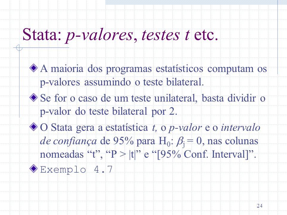 Stata: p-valores, testes t etc.