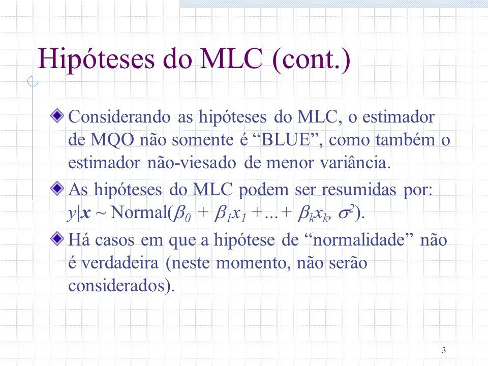 Hipóteses do MLC (cont.)