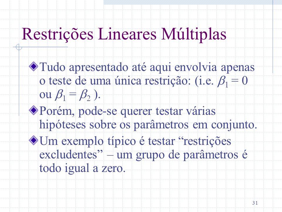 Restrições Lineares Múltiplas