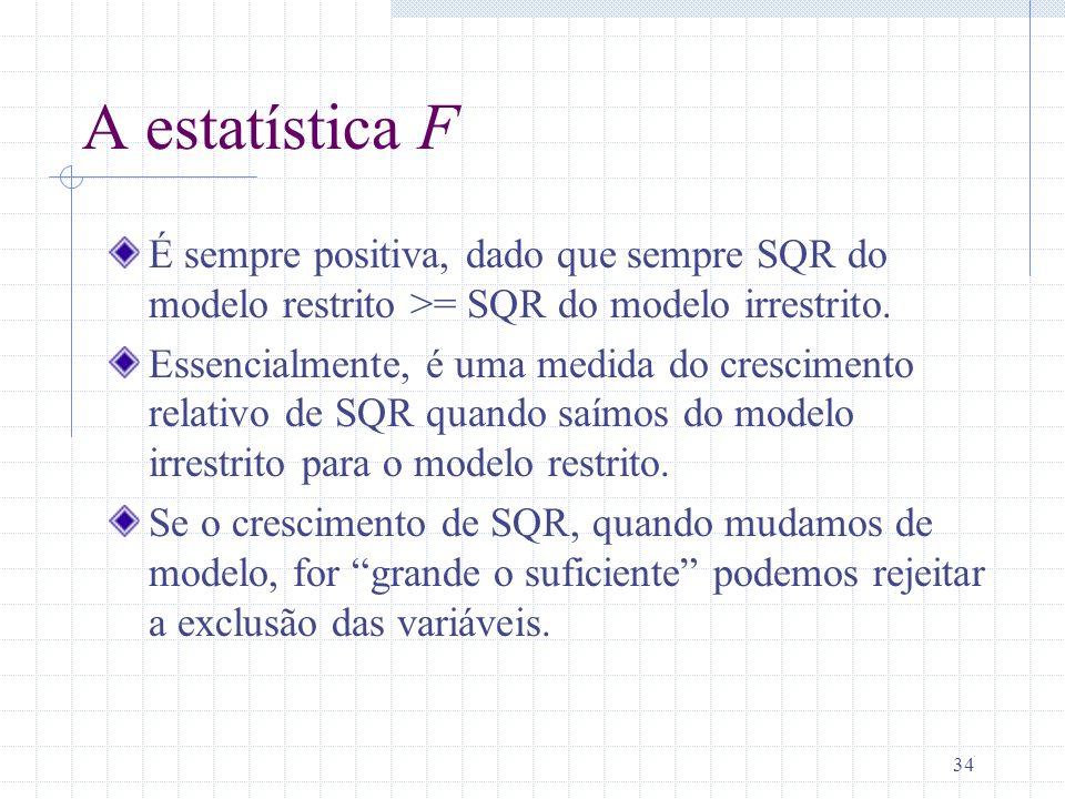 A estatística F É sempre positiva, dado que sempre SQR do modelo restrito >= SQR do modelo irrestrito.