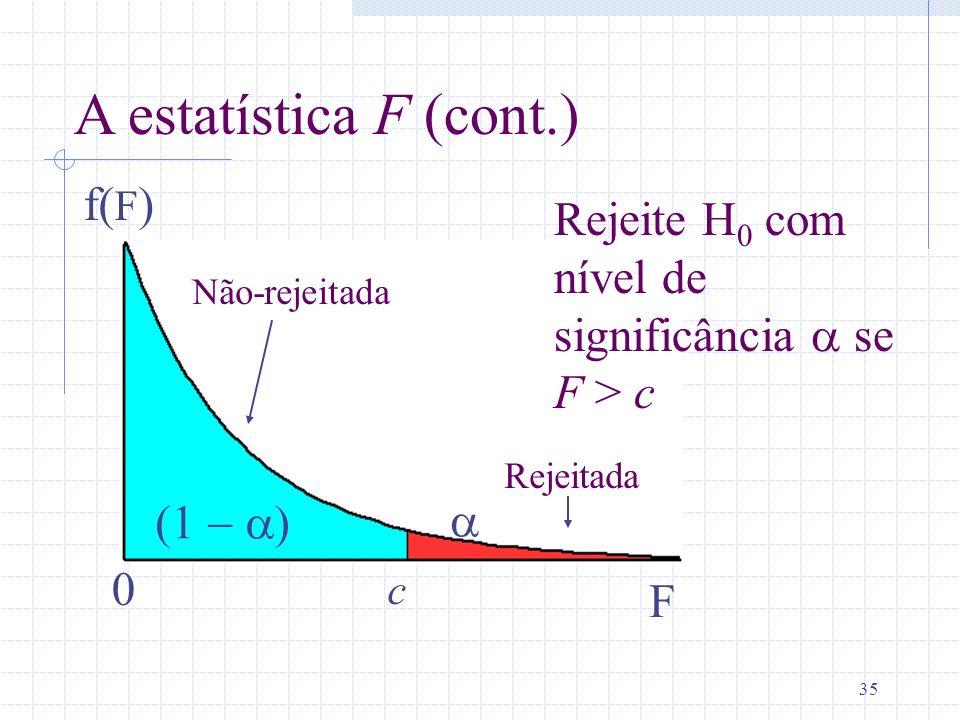 A estatística F (cont.) f(F)