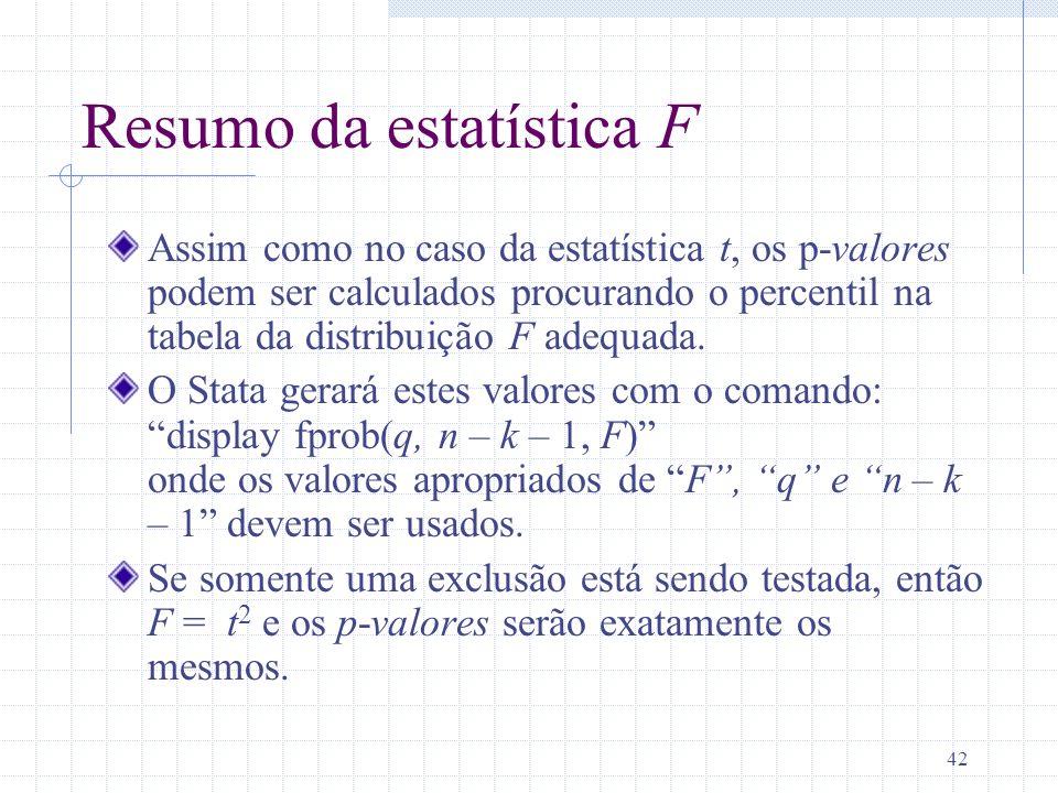 Resumo da estatística F