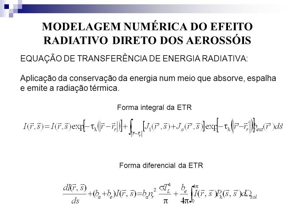 MODELAGEM NUMÉRICA DO EFEITO RADIATIVO DIRETO DOS AEROSSÓIS
