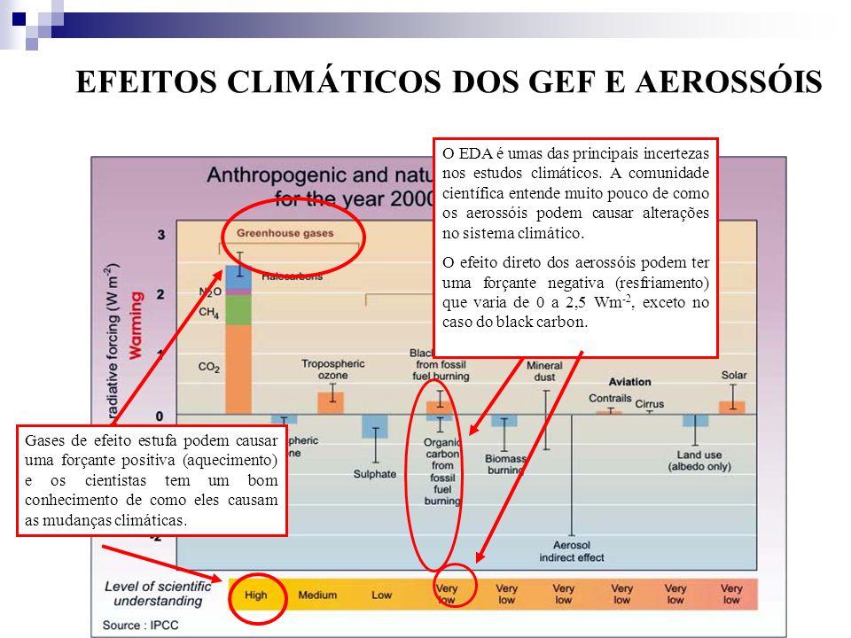 EFEITOS CLIMÁTICOS DOS GEF E AEROSSÓIS
