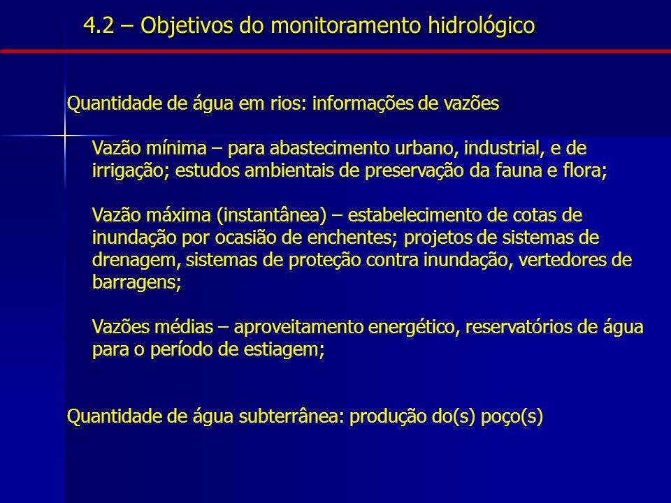 4.2 – Objetivos do monitoramento hidrológico