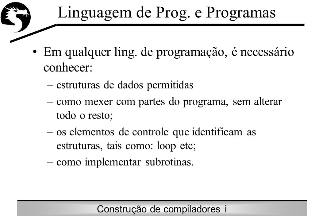 Linguagem de Prog. e Programas