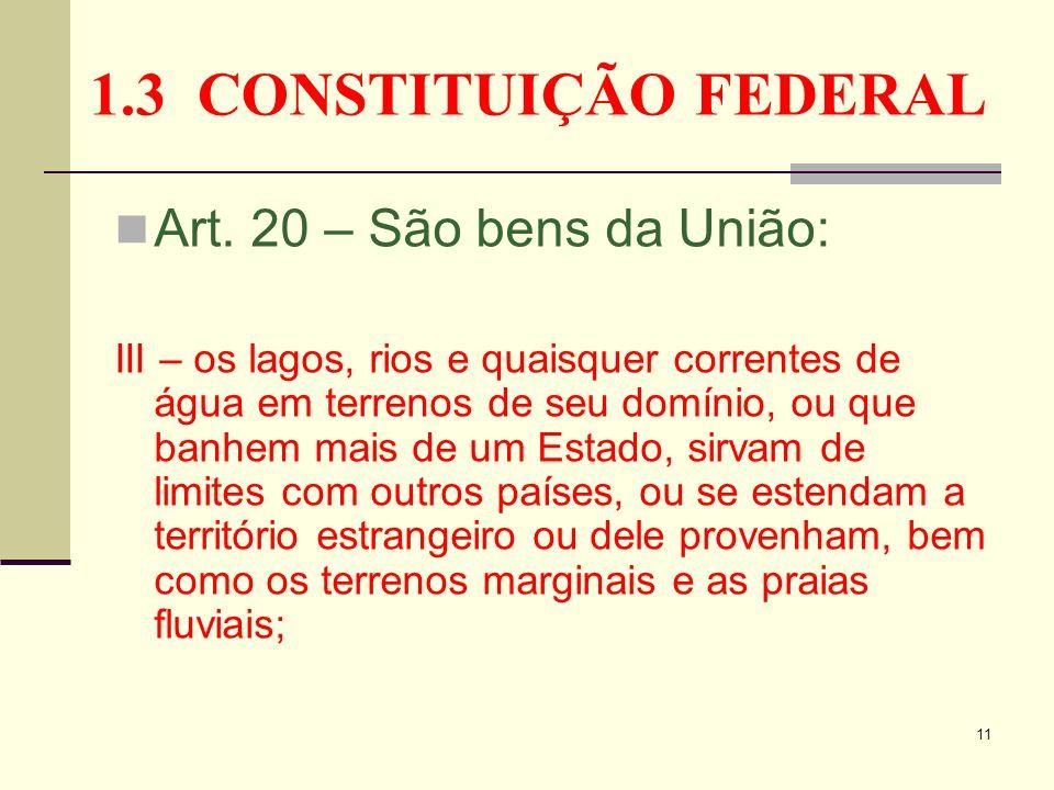 1.3 CONSTITUIÇÃO FEDERAL Art. 20 – São bens da União: