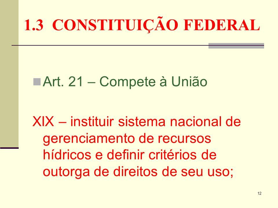 1.3 CONSTITUIÇÃO FEDERAL Art. 21 – Compete à União